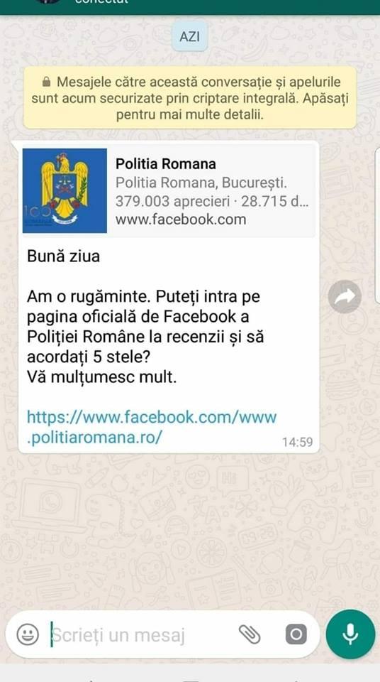 Politia Romana WhatsApp mobilizare