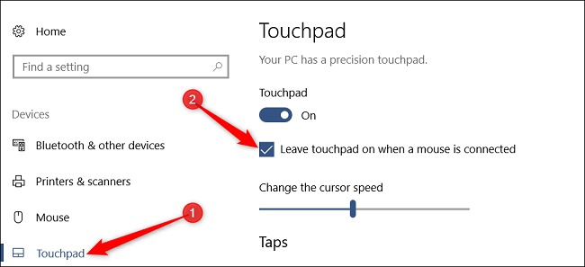 Settings Touch Disable
