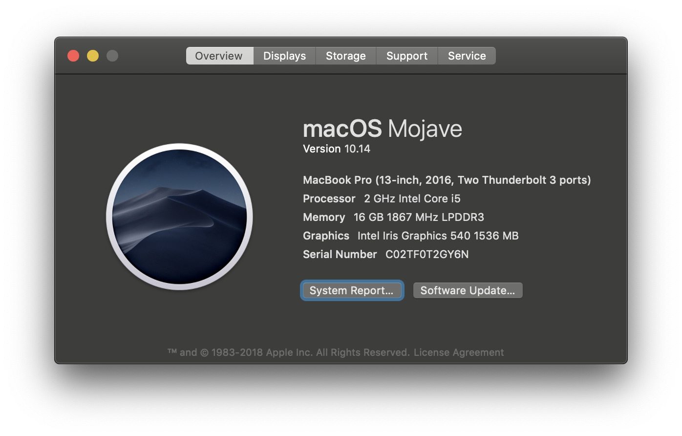 macos Mojave about this mac
