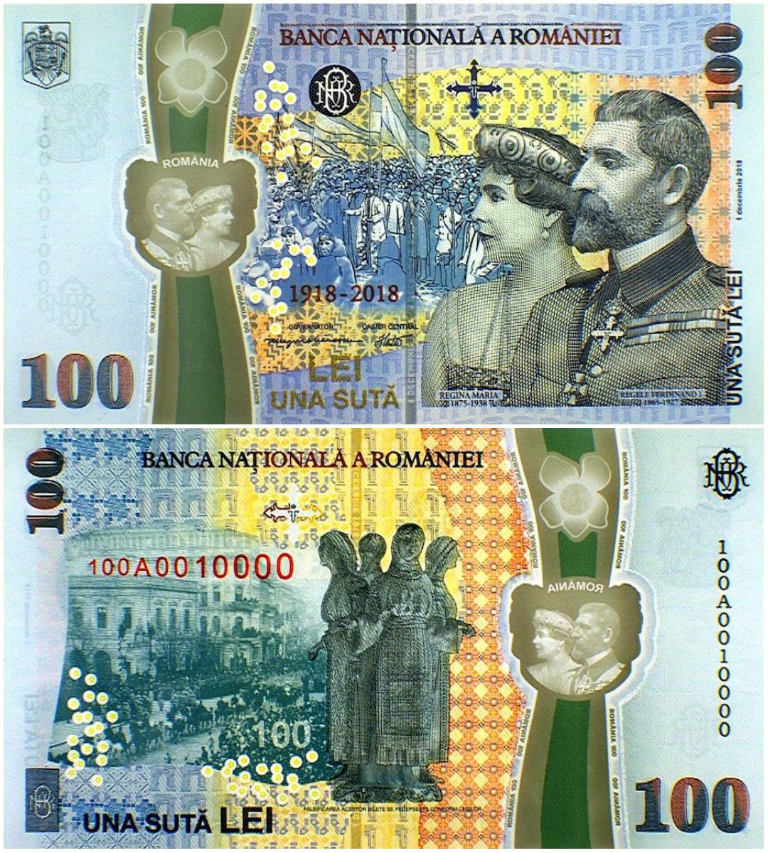 bancnota 100 lei regele ferdinand regina maria