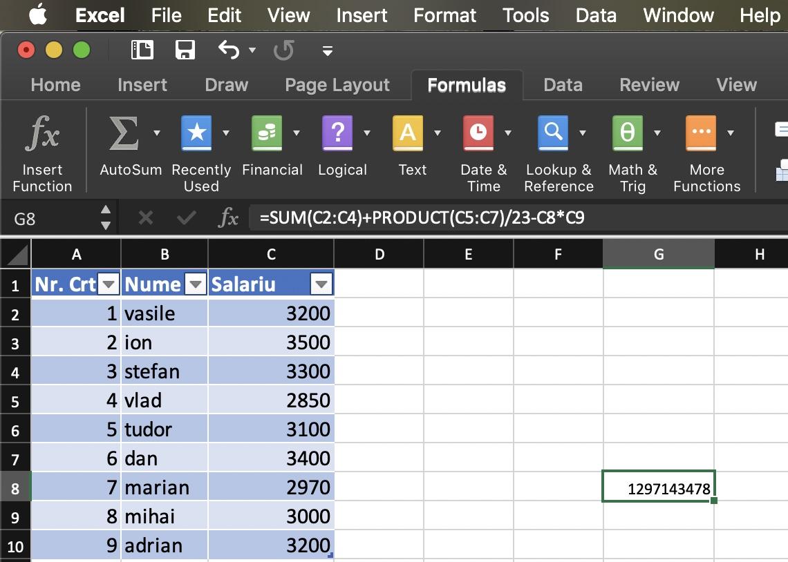 Formula calcul final