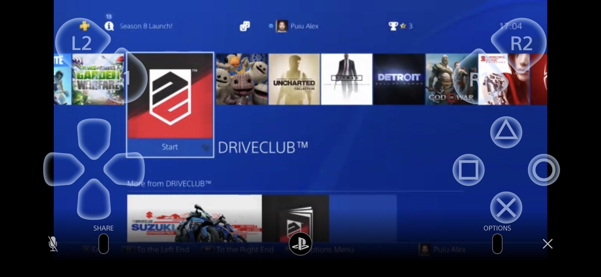 Remote Play ecran principal ios