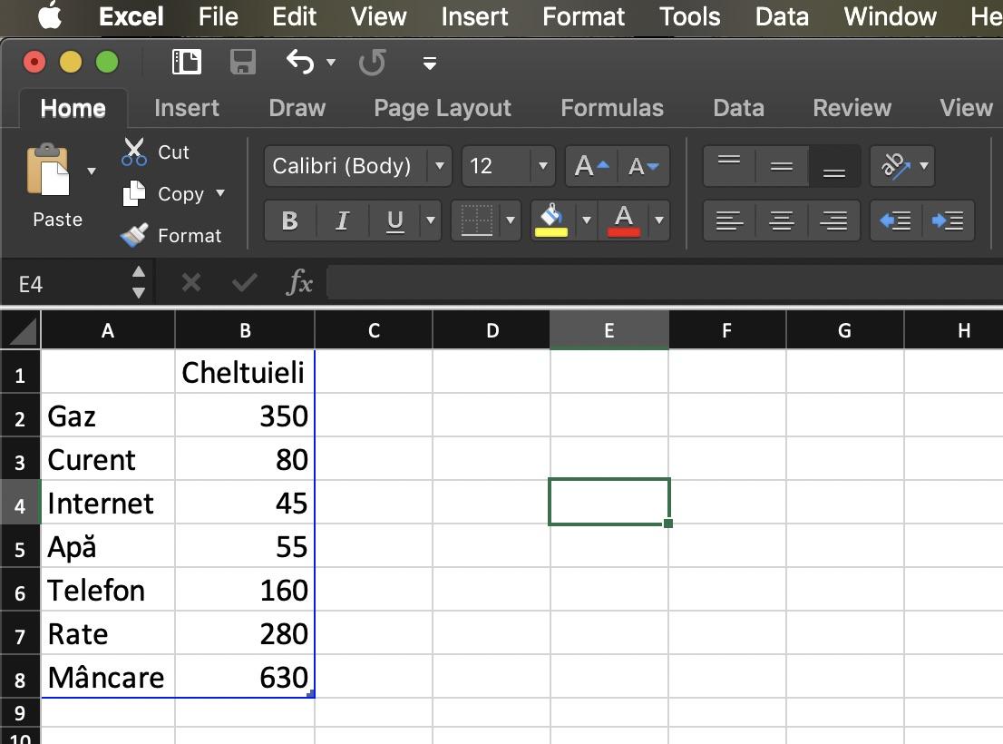 tabel excel pt grafic