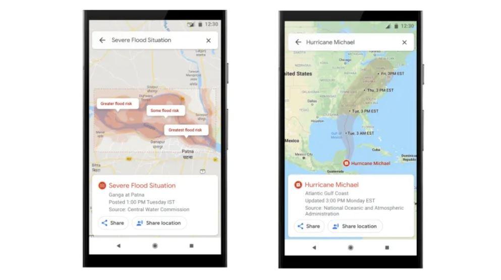 Google Maps schimbare dezastre