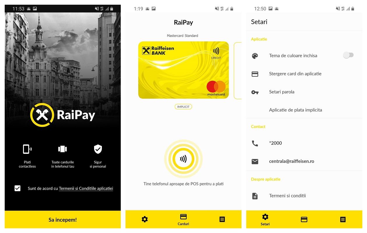 RaiPay interfata Raiffeisen Bank plata telefon
