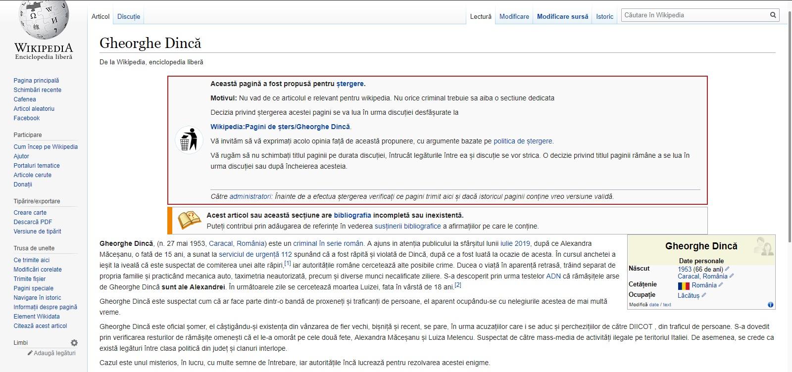 Ce scrie pe Wikipedia despre Gheorghe Dincă. Unele informații despre criminalul din Caracal sunt false