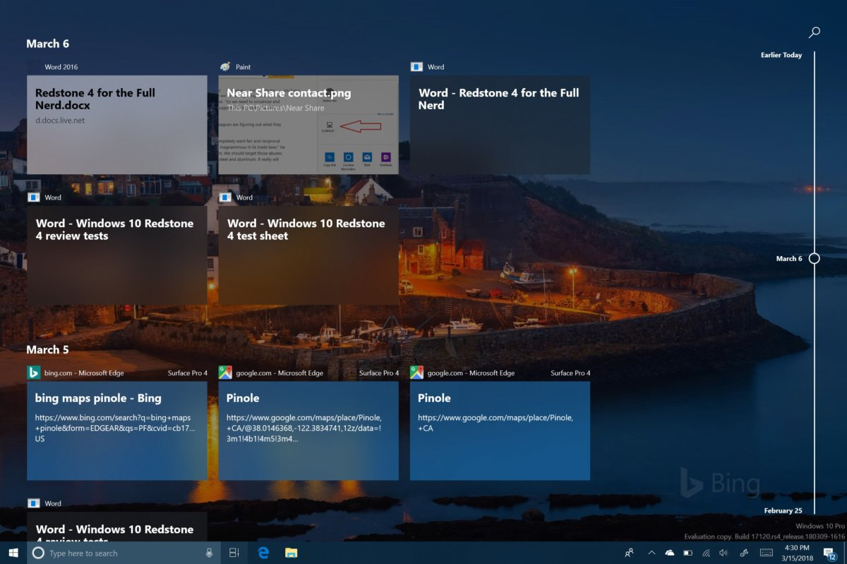 windows 10 timeline