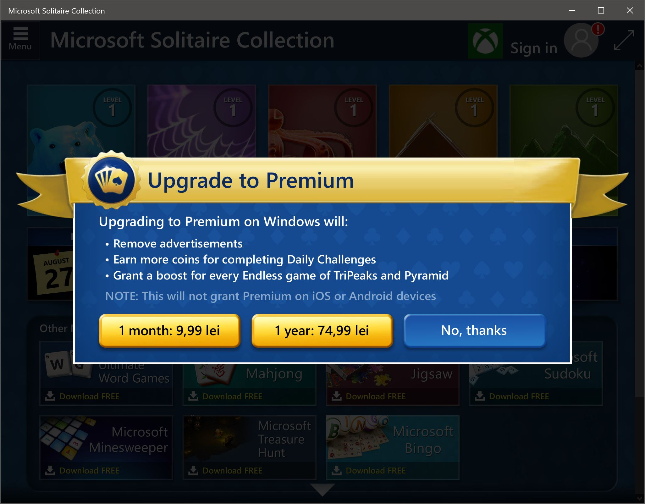 windows solitaire pe bani