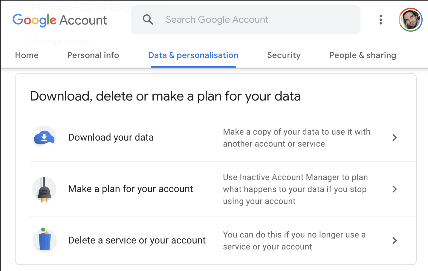 Google download data