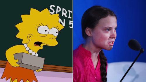 The Simpsons au prezis-o pe Greta Thunberg: discursul pare același