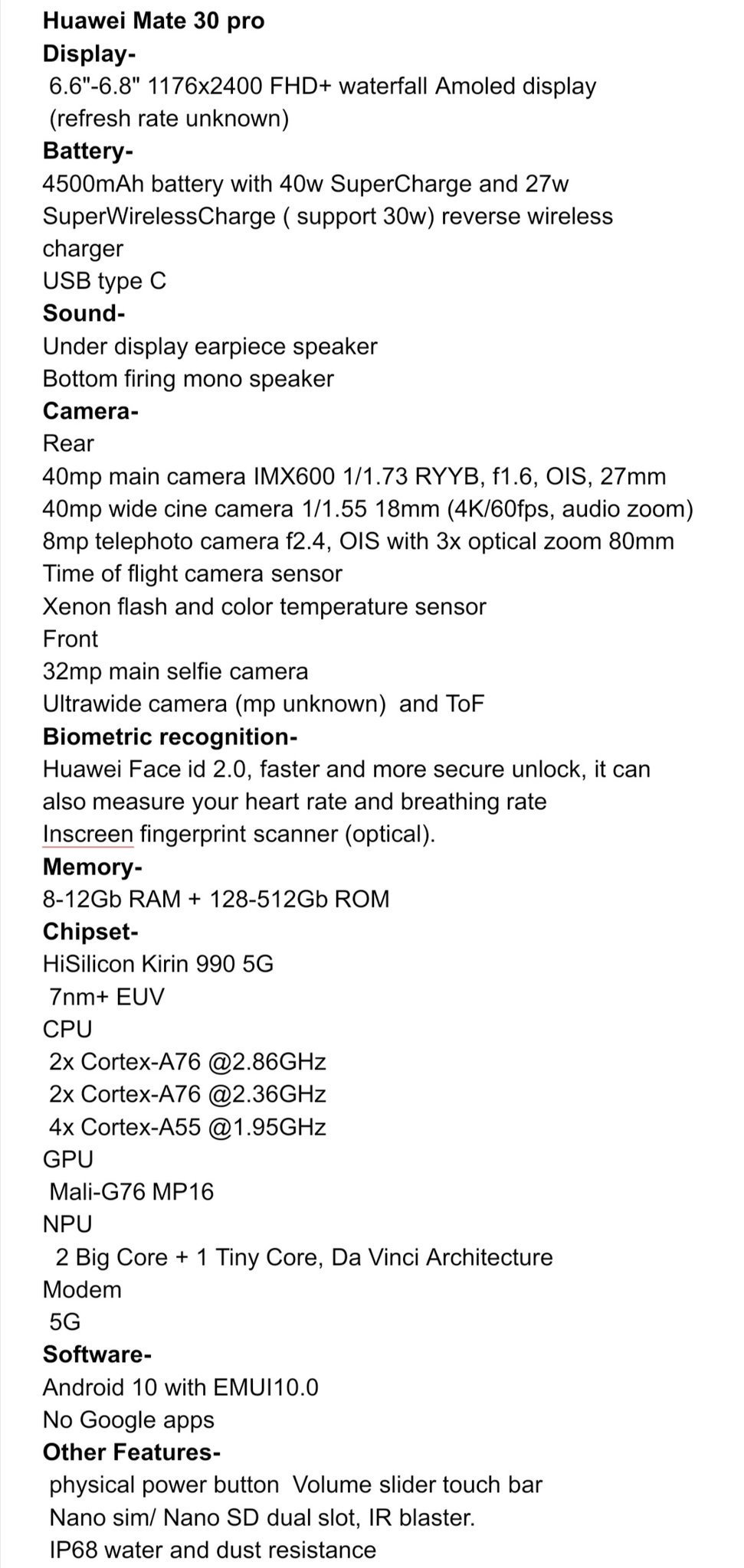 specificatii Huawei Mate 30