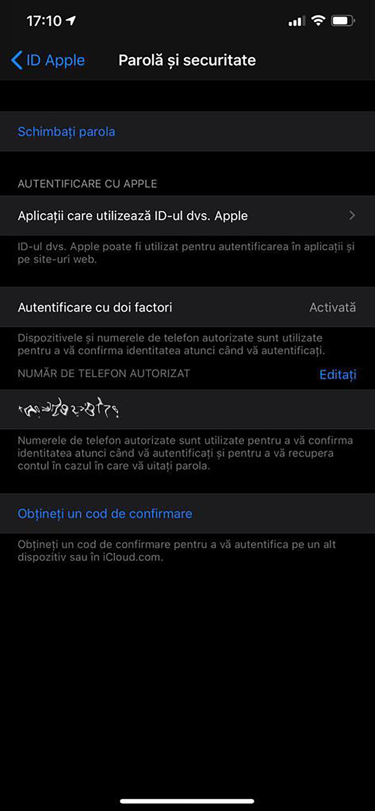 autentificare cu doi factori iPhone