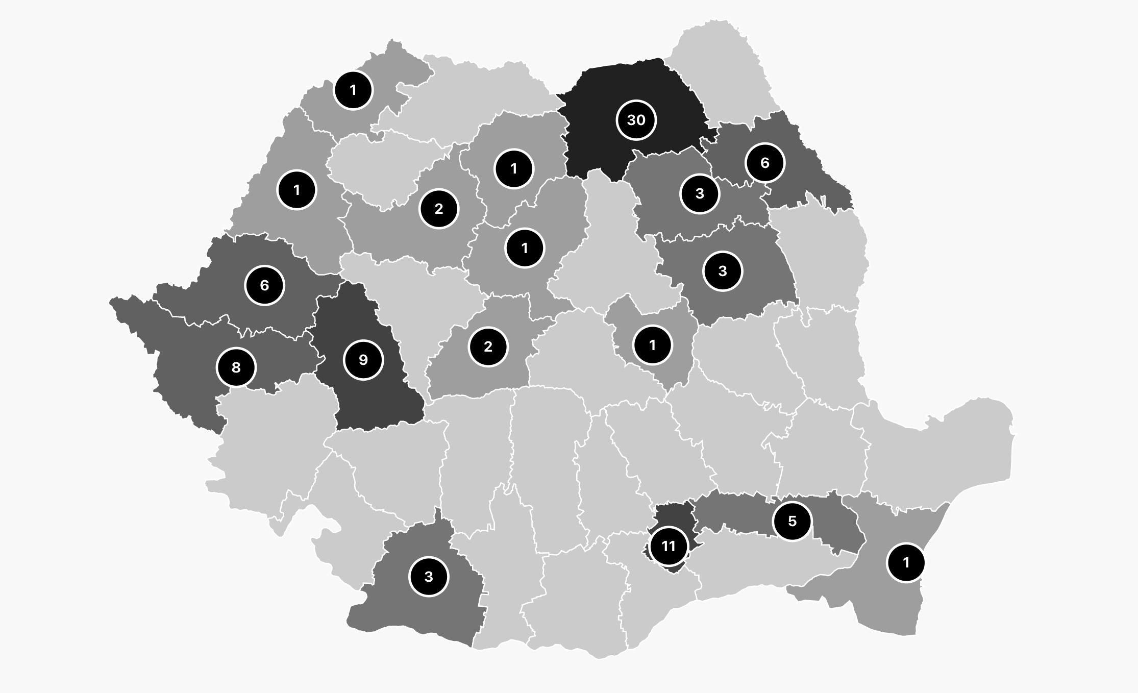 harta decese pe județe