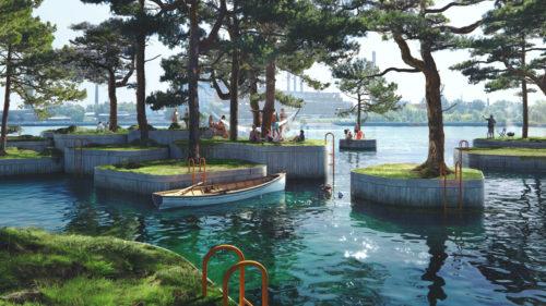 Cea mai ciudată metodă de respectare a distanțării sociale: cum arată parcul plutitor antivirus