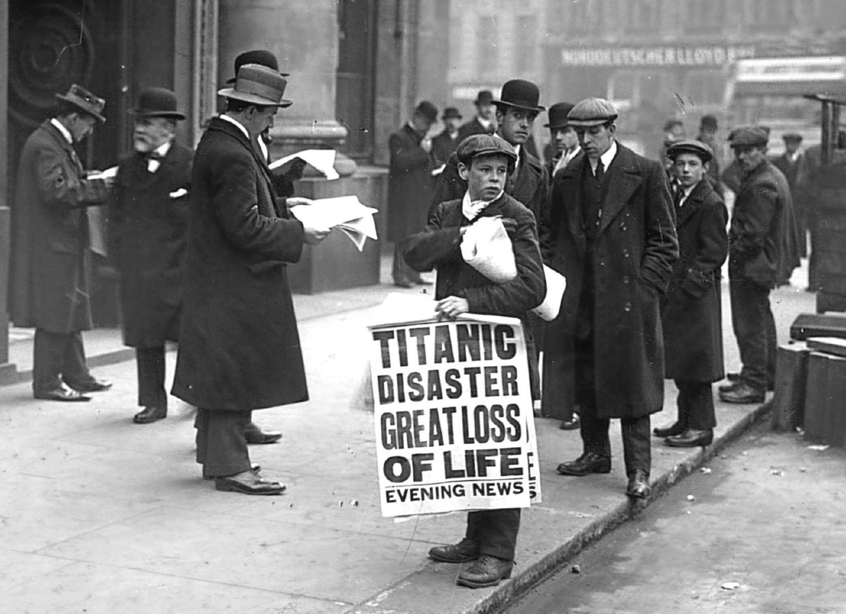 Titanic 1912 copil in piață
