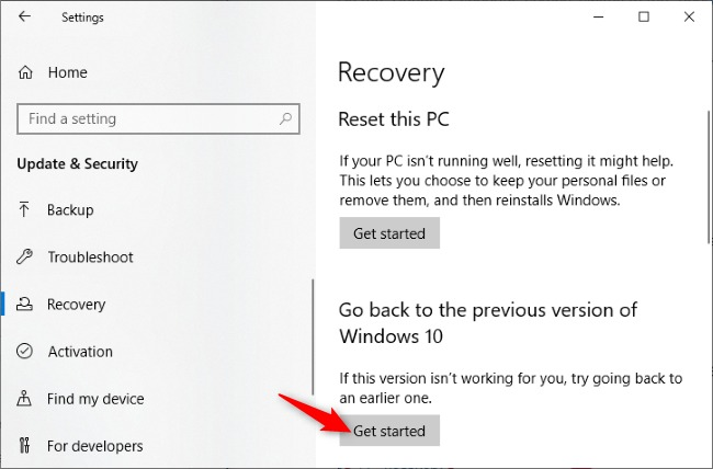 Windows 10 rollback dezinstalare actualizare