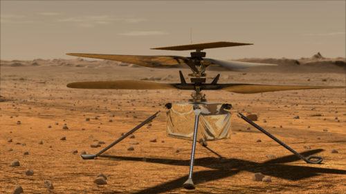 Aceasta este prima fotografie făcută de elicopterul trimis pe Marte. În curând, va avea primul său test de zbor