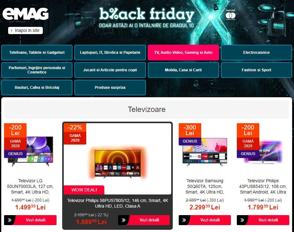 oferta emag black friday televizoare
