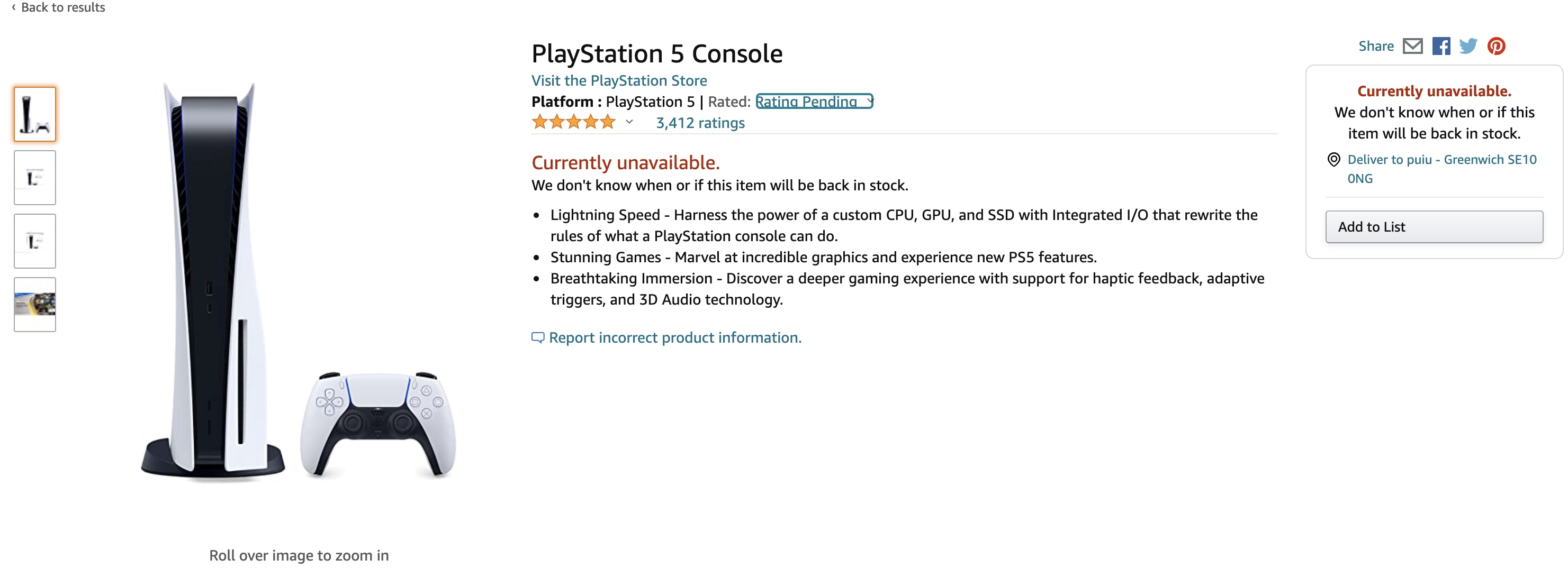 Amazon.com disponibilitate PS5