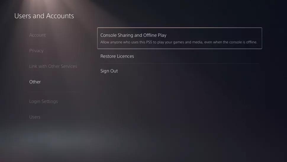 Sony PS5 sharing