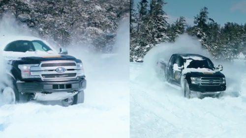 VIDEO Camioneta electrică de la Ford face un adevărat spectacol în zăpadă