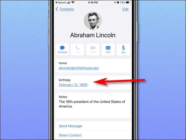 calendar iPhone contact Lincoln