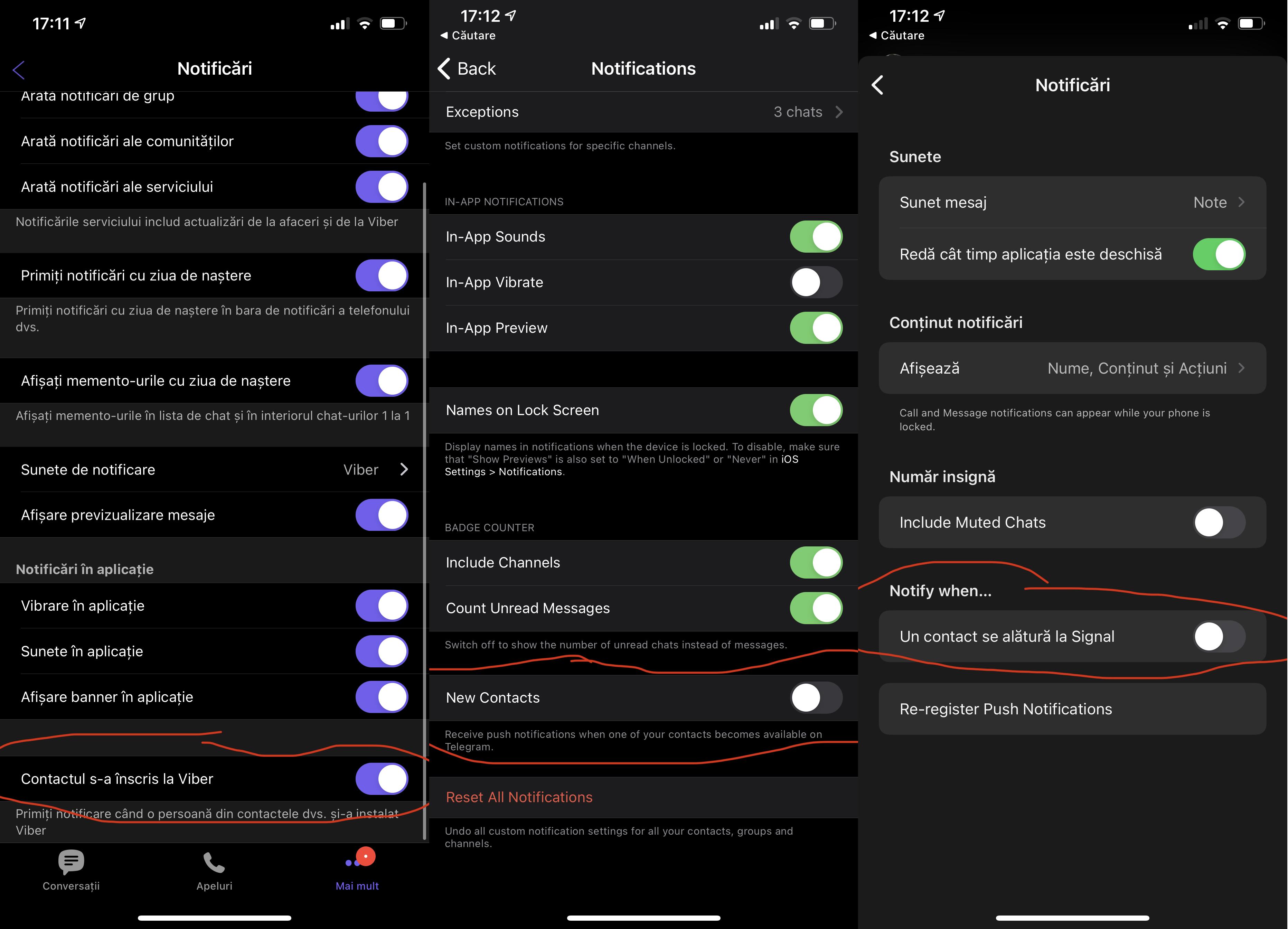 notificare contacte noi viber telegram signal