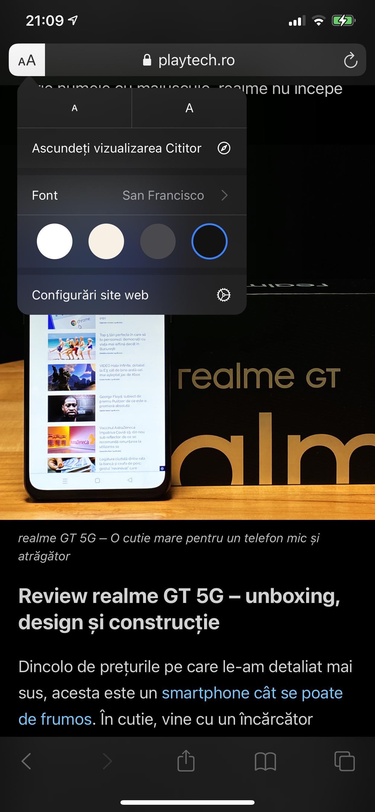 reader mode pe iPhone
